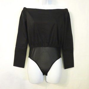 Romeo & Juliet Couture bodysuit NWT top Small Black Off the shoulder womens NEW